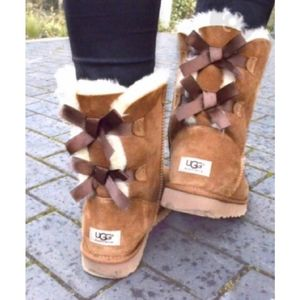 UGG Bailey Bow Boots Brown Ribbon Back 5